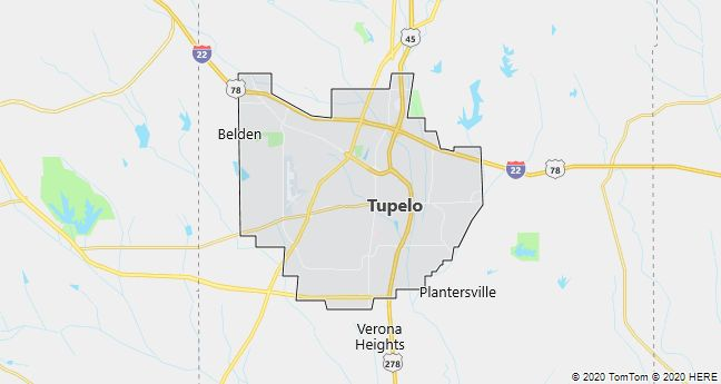 Map of Tupelo, Mississippi