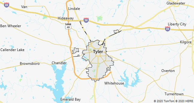 Map of Tyler, Texas